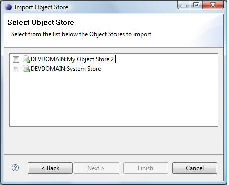 Select Object Store page